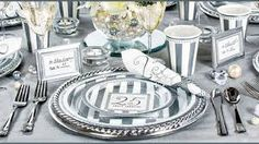 Cute place settings for a 25th (silver) anniversary party.