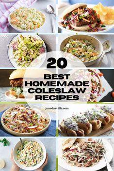 20 Best Homemade Coleslaw Recipes Best Coleslaw Recipe, Coleslaw Recipes, Kfc Coleslaw, Homemade Coleslaw, Creamy Coleslaw, Easy Sandwich Recipes, Easy Salad Recipes, Easy Salads, Side Dish Recipes