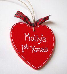 Handmade Personalised Heart Christmas Tree Decoration | eBay