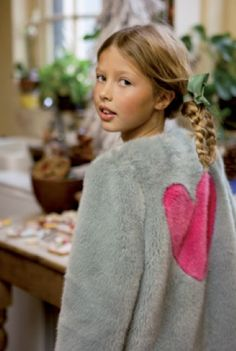 The shaggy fur trend for kids continues next winter with this love heart jacket by I Love Gorgeous