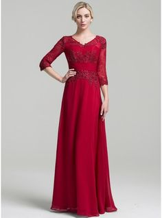A-Line/Princess V-neck Floor-Length Chiffon Mother of the Bride Dress With Ruffle (008091956) - JJsHouse