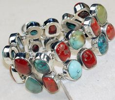 Turquoise,Coral bracelet designed and created by Sizzling Silver. Please visit  www.sizzlingsilver.com. Product code: BR-8108