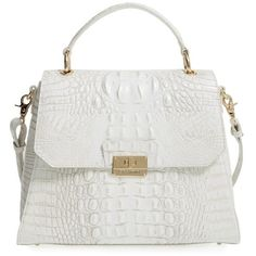 Women's Brahmin 'Melbourne Brinley' Croc Embossed Leather Top Handle... ($345) ❤ liked on Polyvore featuring bags, handbags, pearl, square purse, brahmin satchel, handle satchel, satchel handbags and white satchel