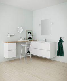 Mano-underskap med vask gir velvære på badet. Romslig og rengjøringsvennlig – med en stilren design som passer perfekt inn i lyse rom.