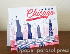 Chicago City Love Letterpress Printed Card by paperparasolpress, $5.00 #chicago #letterpress #paperparasolpress