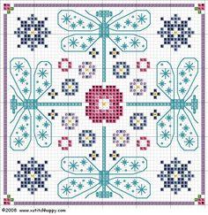 "Cross Stitch Happy: ""Guiltless"" Dragonfly Biscornu and Needlecase Blackwork Patterns, Blackwork Embroidery, Cross Stitch Embroidery, Embroidery Patterns, Biscornu Cross Stitch, Cross Stitch Charts, Cross Stitch Designs, Cross Stitch Patterns, Dragonfly Cross Stitch"
