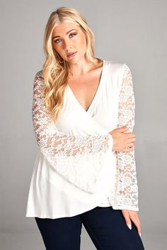 Bell Sleeves Wrapped Dressy Tunic - Plus