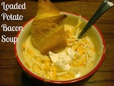 Loaded Potato Bacon Soup. Can easily split the recipe in half for two awesome crock pot meal nights