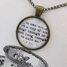 We have a beautiful collection of gold and silver necklaces that suit all occasions, each piece is displayed on our unique and personal quote cards. Glass Necklace, Silver Necklaces, Book Lovers, Pocket Watch, Tea Cups, Jewellery, Personalized Items, Books, Gold