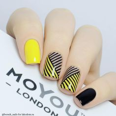 Yellow Nail art and Manicure - 30 beautiful ideas - Nail art designs & diy Yellow Nails Design, Yellow Nail Art, Nail Art Vernis, Modern Nails, Manicure E Pedicure, Stamping Nail Art, Square Nails, Creative Nails, Love Nails