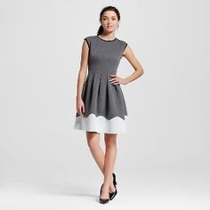 Women's Color Blocked Scuba Fit and Flare Dress Grey/White  - Melonie T