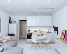 Small Open Plan Kitchen Dining Living Room Designs - Best Image of Living Room and Shelf Living Room And Kitchen Design, Open Plan Kitchen Living Room, Small Apartment Kitchen, Small Apartment Design, Small Apartment Decorating, Small Living Rooms, Kitchen Decor, Kitchen Small, Small Apartments