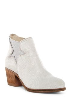 Snake Embossed Leather Bootie