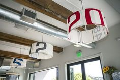 >>> AtWestward, a waterfront restaurantin Seattle, custom light fixtures have shades made from reclaimed sails.