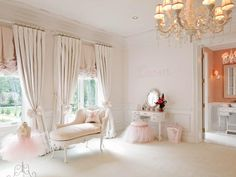 Modern Ballerina Bedroom Designer Dahlia Mahmood put together the ultimate girly space with this ballet-inspired girls' bedroom design. Small enough for a young girl, the chaise lounge and corner vanity are ideal choices for the feminine room design. Bedroom Color Schemes, Bedroom Colors, Bedroom Decor, Bedroom Ideas, Bedroom Curtains, Ballerina Bedroom, Ideas Habitaciones, Little Girl Rooms, New Room