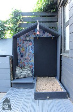 DIY playhouse with sandpit by Hesters handmade home Sand Pits For Kids, Paint Your House, Outdoor Play Spaces, Build A Playhouse, Kids Play Area, Backyard For Kids, Orlando, Handmade Home, Play Hub