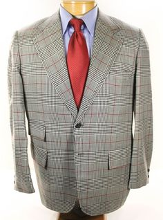 Brooks Brothers Glen Plaid Red Windowpane Sportcoat Blazer 40R Made in USA   BrooksBrothers  TwoButton eaffd905b