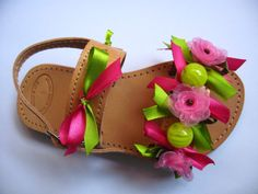 Handmade leather children sandals decorated with ribbons, organza flower and beads....just beautiful!