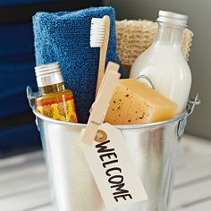 Greet weekend guests with your very own room service. Provision a bucket with overnight essentials for a boutique hotel touch.