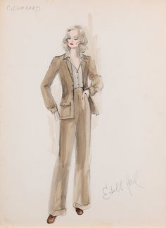 Edith Head's costume sketches for Jill Clayburgh as Carole in Gable and Lombard Film Fashion, 1930s Fashion, Fashion History, Fashion Art, Vintage Fashion, Fashion Design, Fashion Illustration Sketches, Fashion Sketches, Illustrations