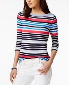 Tommy Hilfiger Cotton Striped Boat-Neck Top, Only at Macy's - Blue XXL