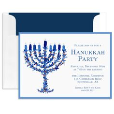 Floral Menorah Invitations