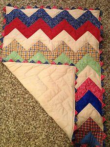 chevron style pieced baby quilt