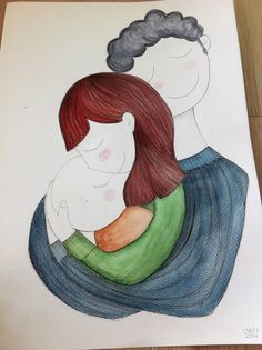 custom watercolor by vireta Cute Illustration, Character Illustration, Watercolor Illustration, Mother And Child Painting, Naive, Mother Art, Madhubani Art, Mother's Day Diy, Baby Art