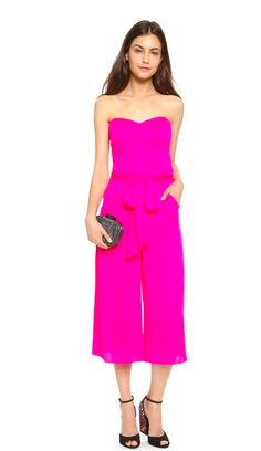 Pink strapless jumpsuit for a night out, dinner party, cocktail party, date night
