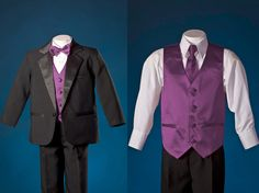 A teeny-tiny tux for Donovan?  Cute! Boys Black 1 Button Notch Tuxedo with Purple Vest Set
