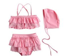 Baby Lace Swimsuit - Two Piece with Hat, Pink - 2-5T