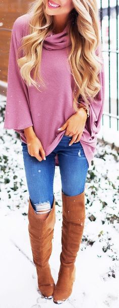 #Winter #Outfits / Pink Knit + Knee Length Boots