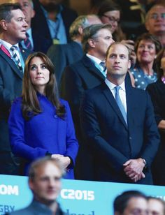 The Duke and Duchess of Cambridge at the first match of the Rugby World Cup // September 18th 2015 Reiss Emile coat