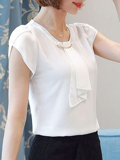 buy round neck beading plain petal sleeve blouse online with cheap prices and discover fashion blouses at fashionmiacom - PIPicStats Blouse Styles, Blouse Designs, Sewing Blouses, Petal Sleeve, Beautiful Blouses, Discount Designer Clothes, Blouse Online, Mode Style, Types Of Sleeves