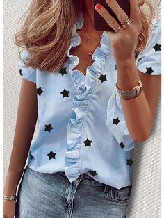 Blouses For Women, Pants For Women, Cheap Blouses, Ruffle Shirt, Sleeveless Shirt, Short Sleeve Blouse, Long Sleeve, Star Print, Printed Blouse