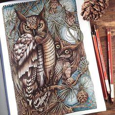 My first completed page from #manicbotanic coloring book. It took three months, I'm such a slowpoke  Вы будете смеяться, но покраска одной страницы раскраски #манияботаника заняла у меня три месяца. Книжка оч�