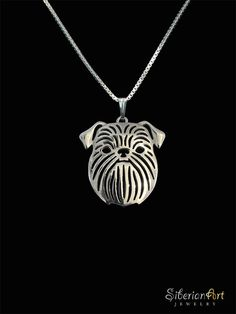 Brussels Griffon sterling silver pendant and necklace. Brussels Griffon dog art portraits, photographs, information and just plain fun. Also see how artist Kline draws his dog art from only words at drawDOGS.com http://drawdogs.com/product/dog-art/brussels-griffon-dog-portrait-by-stephen-kline/