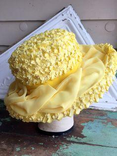 Vintage Hat Yellow Straw Brim Velvet and organza ribbon Mod Retro 60's by Holliezhobbiez on Etsy