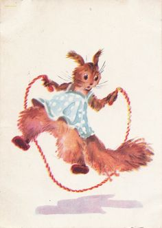 A. Vender Squirrel Print Postcard  1957 by RussianSoulVintage