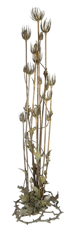 A FRENCH ART NOUVEAU COLD PAINTED BRONZE THISTLE-FORM TEN-LIGHT FLOOR LAMP In the manner of Maurice Bouval, Paris, France, circa 1900.
