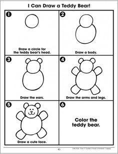 drawing drawing for kids Free idea Drawing Lessons For Kids, Art Drawings For Kids, Easy Drawings, Art For Kids, Teddy Bear Crafts, Teddy Bear Day, Bears Preschool, Preschool Art, Kindergarten Drawing