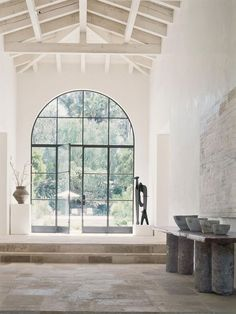 """House Tour: Southern California Modern Home - """"Zimmer mit Aussicht"""" – by www. Steel Doors And Windows, Big Windows, Iron Windows, Black Windows, Metal Doors, Modern Windows, Sash Windows, Glass Front Door, Front Doors"""