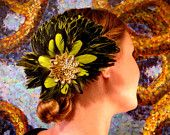 Electric Lime Flower Fascinator.  I own one from this artist.  It's beautiful and I wear it often.