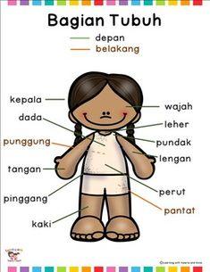 My body - body parts in Indonesian / Bahasa Indonesia posters and worksheets Writing Activities, Activities For Kids, Indonesian Language, Alphabet For Kids, Kids Poster, Worksheets For Kids, Body Parts, Kindergarten, Homeschool