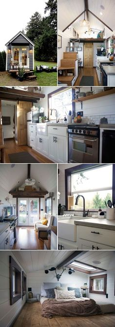 A luxurious 24 tiny house created by Portland-based Tiny Heirloom, the team from HGTVs Tiny Luxury. The kitchen features a large farm sink, concrete countertops, an apartment size refrigerator, and a 24 four-burner electric range. Tiny House Movement, Small Room Design, Tiny House Design, Tiny House Plans, Tiny House On Wheels, Apartment Size Refrigerator, Casas Containers, Tiny Spaces, Loft Spaces