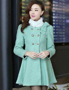 Faddish Double-Breasted Flare Hem Wool Coat #korean #fashion