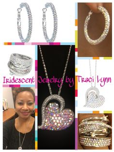 Iridescent jewelry by Traci Lynn. Dear to my heart necklace, Enchanted earrings and Diva stretch ring. Shop here: http://tracilynnjewelry.myvoffice.com/Party/JanuaryBlingGoal/