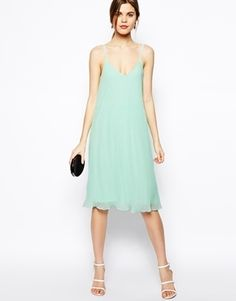 ASOS Cami Swing Dress With Pleats - Mint