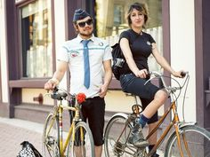 Picture of a young couple on bikes in Winnipeg