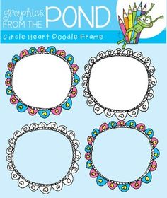 Circle Heart Doodle Frames - Graphics From the Pond